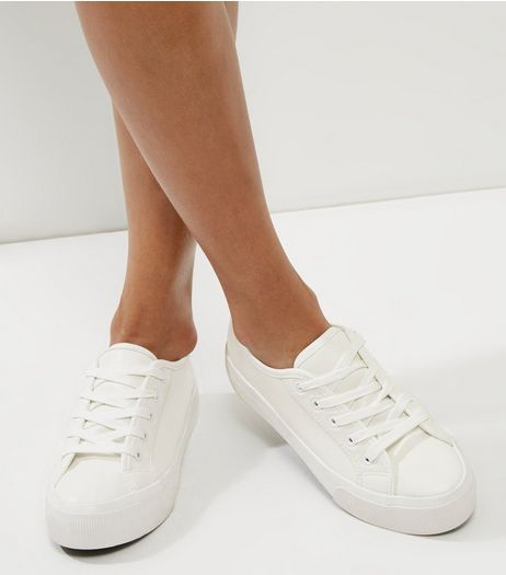 White Lace Up Platform Trainers | New Look