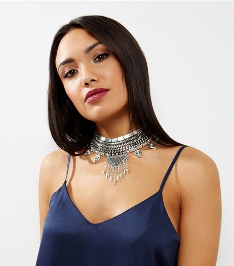 Silver Chain Textured Triangle Drop Choker  | New Look