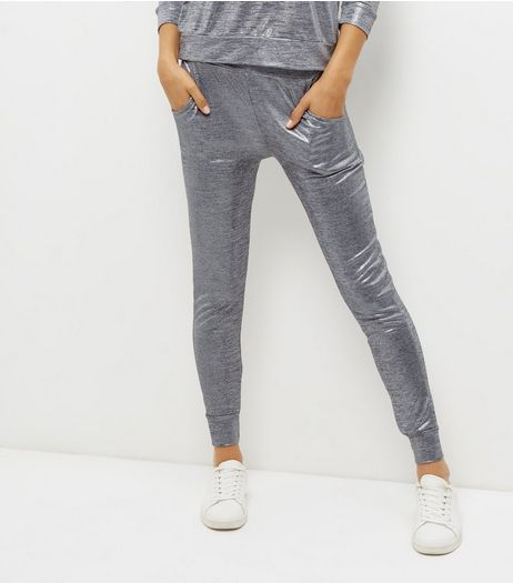 Carpe Diem Silver Foil Metallic Joggers | New Look