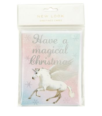 Product photo of White glitter unicorn magical christmas christmas card pack
