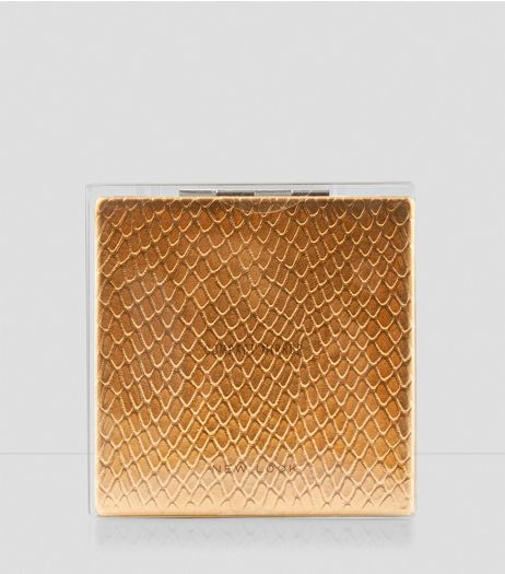 Rose Gold Snakeskin Compact Mirror | New Look