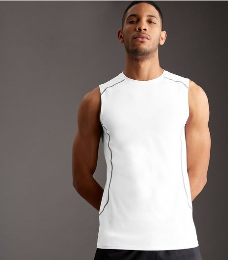 White Stretch Sports Vest | New Look