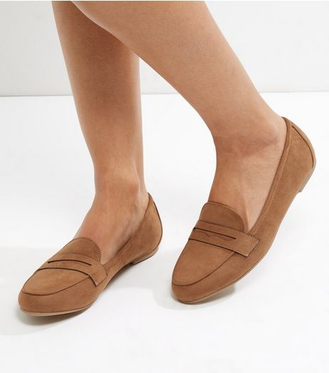 Tan Suedette Loafers | New Look
