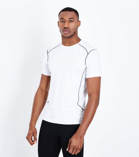 White Stretch Short Sleeve Sports T-Shirt | New Look