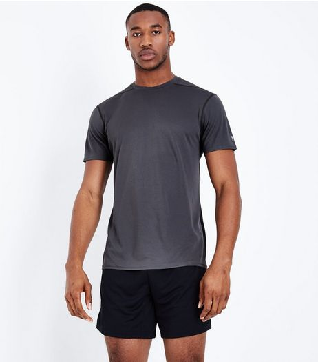 Grey Mesh Short Sleeve Sports T-Shirt | New Look