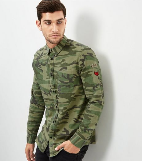 Khaki Camo Embroidered Badge Shirt | New Look