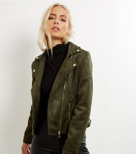 Khaki Suedette Biker Jacket | New Look
