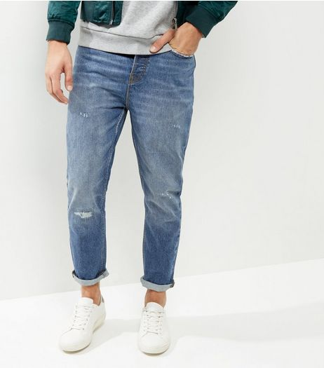 Blue Tapered Slim Leg Rip Stitch Jeans | New Look