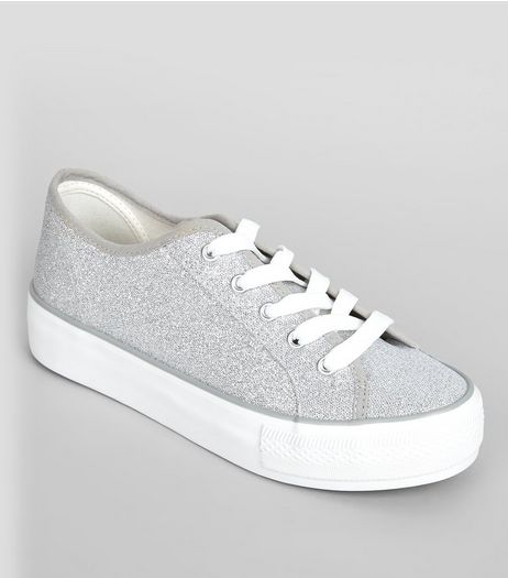 Grey Glitter Platform Trainers | New Look