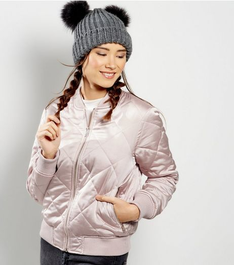 Shell Pink Sateen Quilted Bomber | New Look