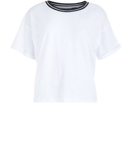 Teens White Contrast Trim T-Shirt | New Look