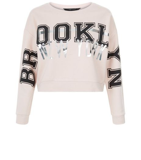 Teens Shell Pink Foil Brooklyn Foil Sweater  | New Look