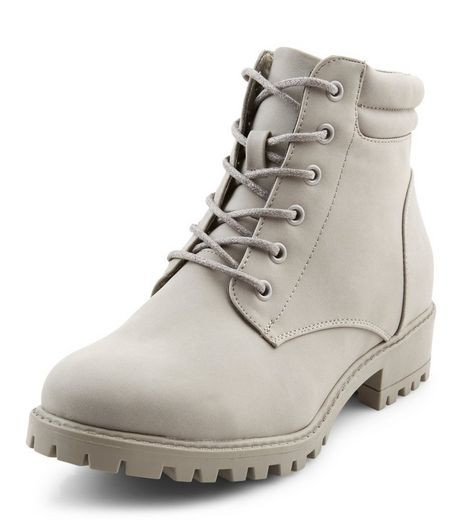 Teens Grey Leather-Look Boots  | New Look