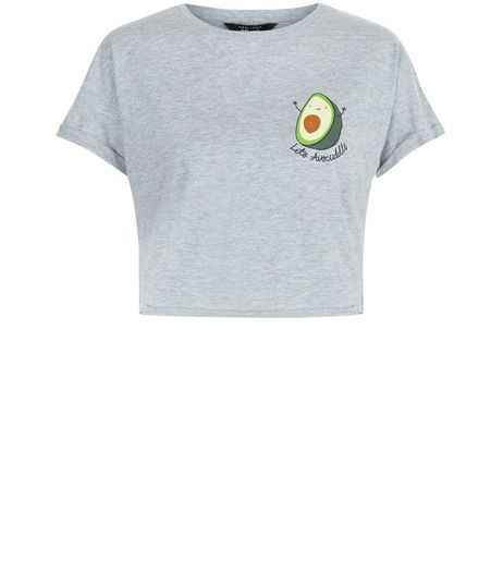 Teens Grey Let's Avocuddle Print T-Shirt | New Look