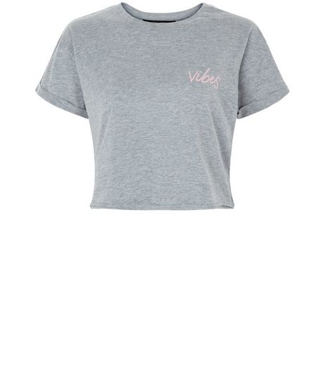 Teens Grey 'Vibes' Print T-Shirt  | New Look