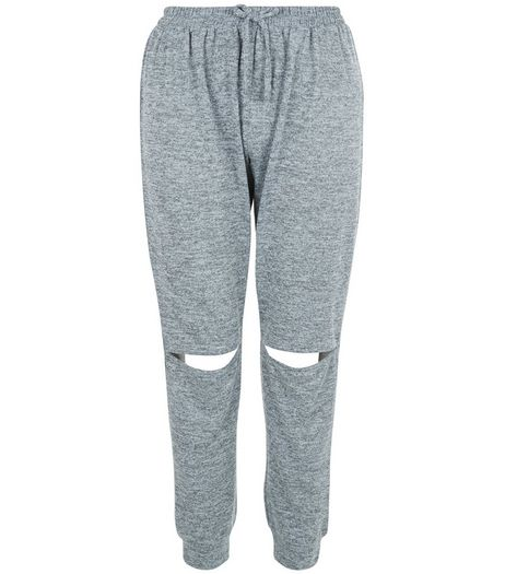Teens Grey Fine Knit Rip Knee Joggers | New Look