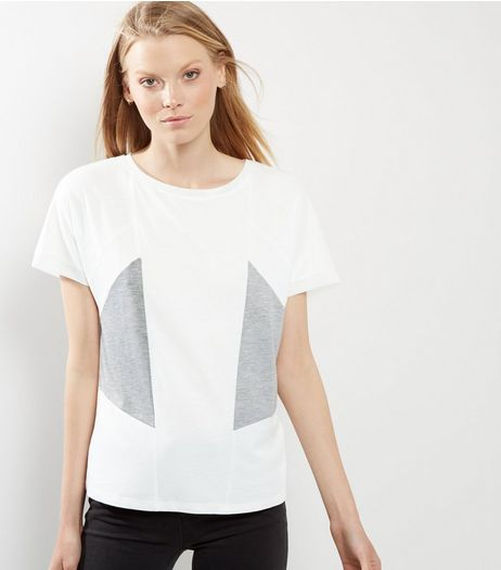 White Colour Block Panel T-Shirt  | New Look