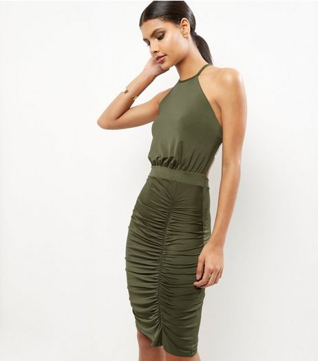 Khaki Ruched Side Midi Dress | New Look