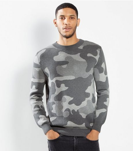 Grey Camo Print Jumper | New Look