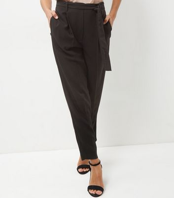 Black High Waist Tie Front Trousers