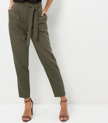 Khaki High Waisted Tie Front Trousers
