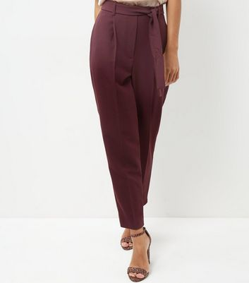 Burgundy High Waist Tie Front Trousers