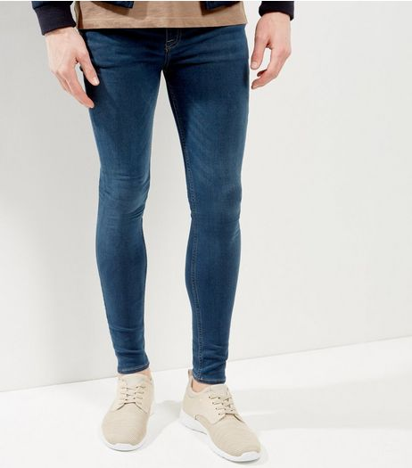 Blue Washed Extreme Super Skinny Jeans | New Look