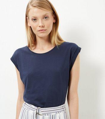 Navy Roll Sleeve T-Shirt