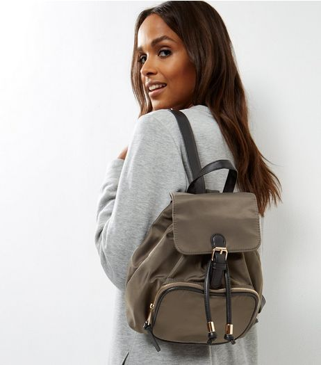 Khaki Contrast Black Trim Mini Backpack | New Look