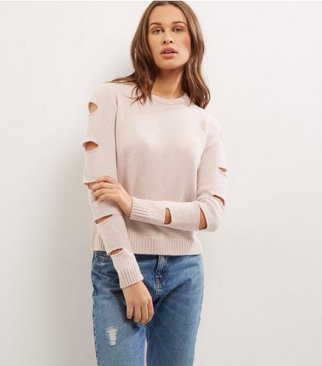 Pink Cut Out Sleeve Jumper  | New Look