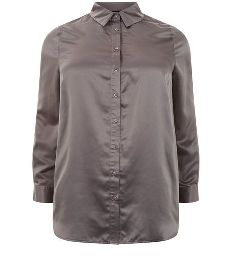 Curves Grey Sateen Floral Embroidered Shirt | New Look