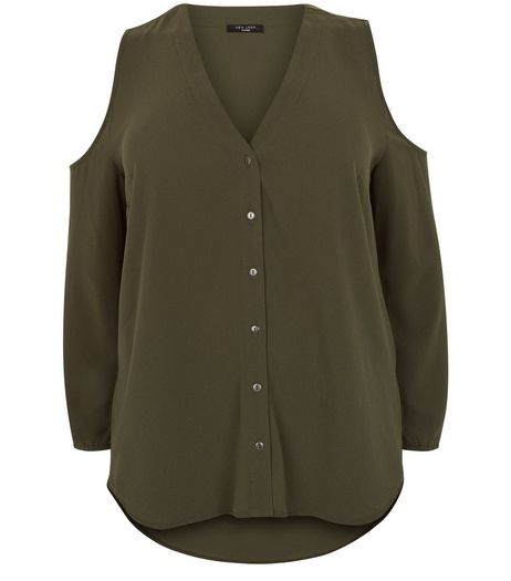 Curves Khaki Cold Shoulder Shirt | New Look