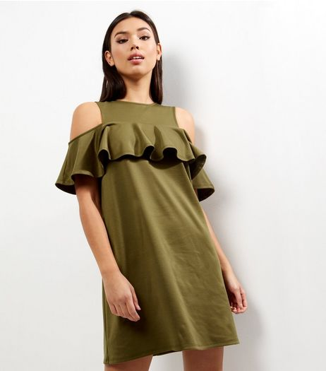 Khaki Cold Shoulder Frill Trim Tunic Dress  | New Look