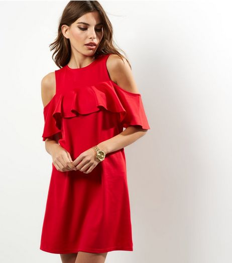 Red Cold Shoulder Frill Trim Tunic Dress | New Look