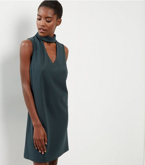 Dark Green Choker Neck Sleeveless Tunic Dress | New Look