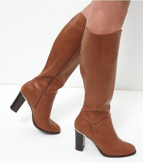 Tan Knee High Leather Look Metal Trim Block Heel Boots | New Look