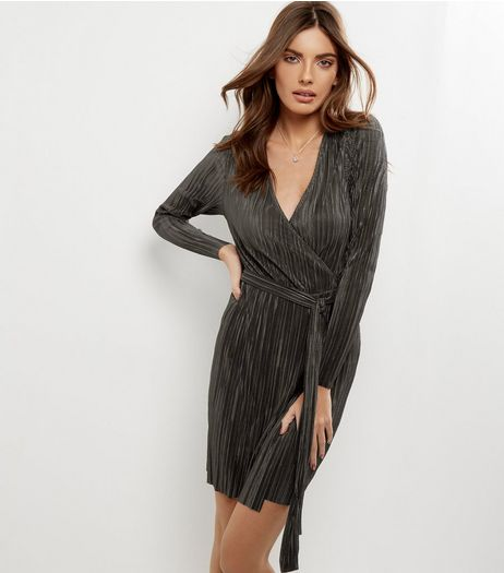 Khaki Pleated Wrap Front Long Sleeve Dress | New Look