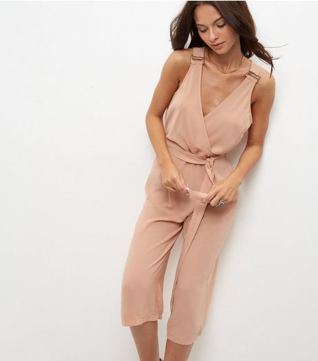 Shell Pink Buckle Wrap Front Jumpsuit | New Look
