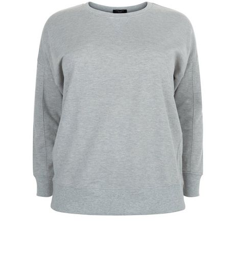 Curves Grey Balloon Sleeve Sweater | New Look