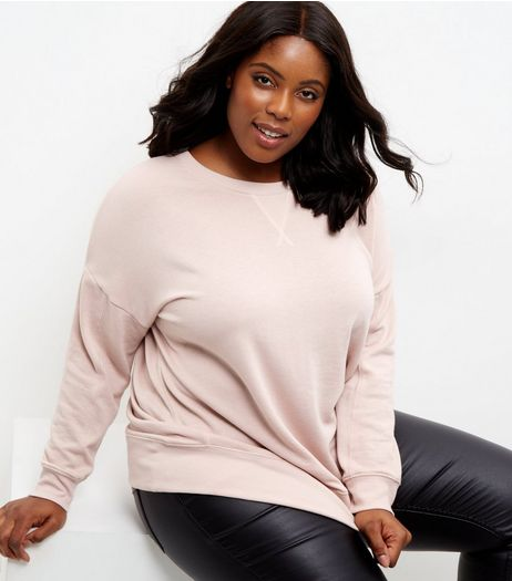 Curves Pink Balloon Sleeve Sweater  | New Look