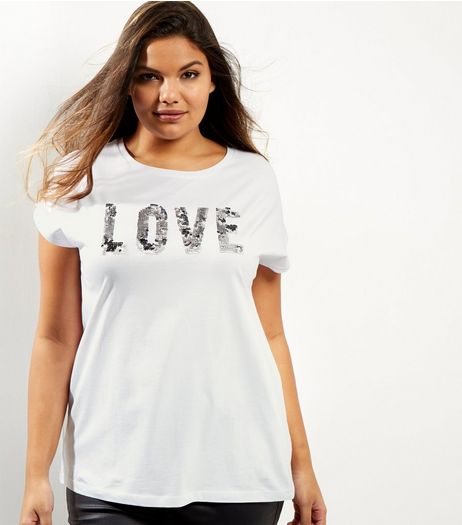 Curves White Love Sequin T-Shirt | New Look