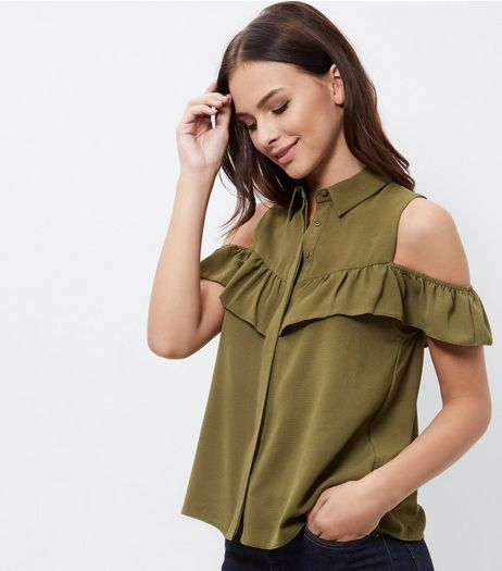 Khaki Button Front Cold Shoulder Frill Trim Shirt | New Look