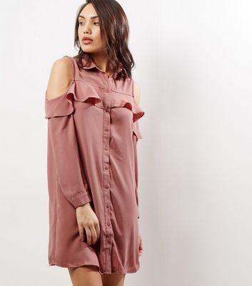 Pink Frill Trim Cold Shoulder Shirt Dress