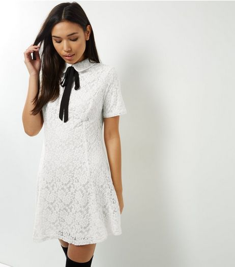 White Lace Neck Tie Shift Dress | New Look