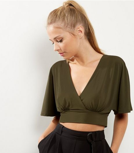 Khaki Short Sleeve Wrap Front Crop Top  | New Look