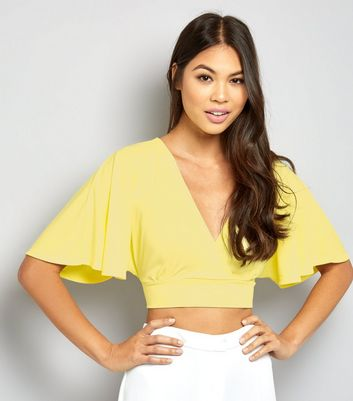 Yellow Cape Sleeve Wrap Front Crop Top