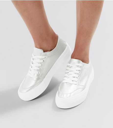 Silver Lace Up Contrast Sole Trainers | New Look