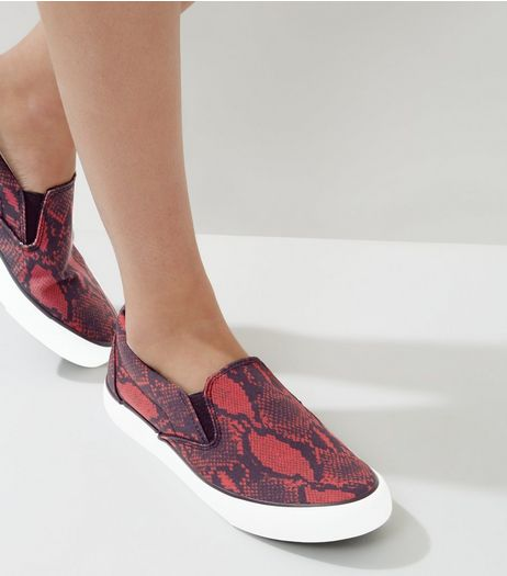 Red Snakeskin Slip On Plimsolls | New Look