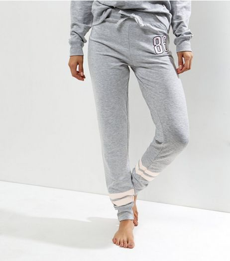 Tall Grey Contrast Stripe Pyjama Joggers | New Look
