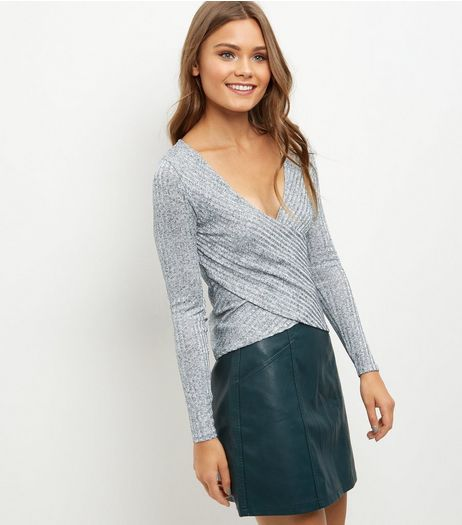 Silver Wrap Front V Neck Top | New Look